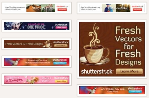 Display ads (snippet) used by shutterstock.com