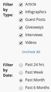 Buzzsumo content filter options