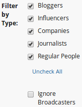 Buzzsumo influencer filter options
