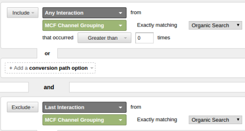 Segment excluding organic last interaction - Google Analytics