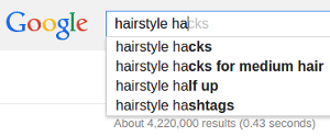 Google autocomplete for hairstyle hacks term