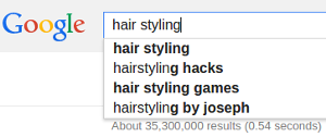 Google autocomplete for hair styling term