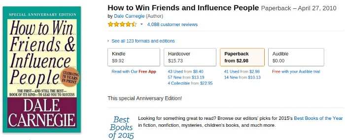 'How to win friends' - book pricing options
