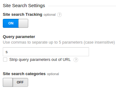 Site search settings in Google Analytics admin