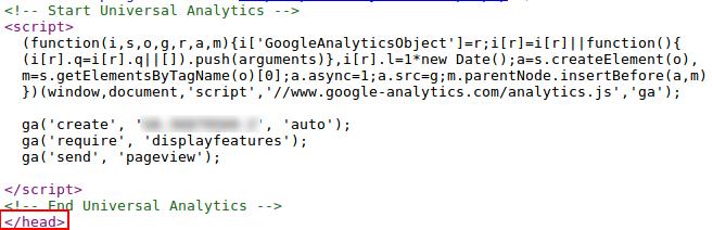 Universal tracking code sample